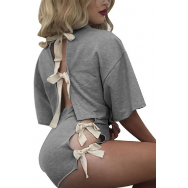 Grey Cotton Shorts Solid O neck Short Sleeve Sexy Two Pieces
