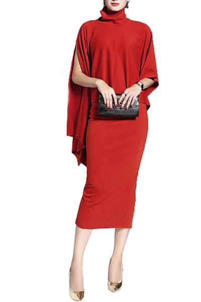 Long sleeve mid calf dresses