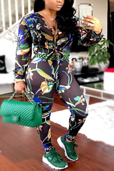 Fashion V Neck Long Sleeves Printed See-Through Black Chiffon Two-piece Pants Set