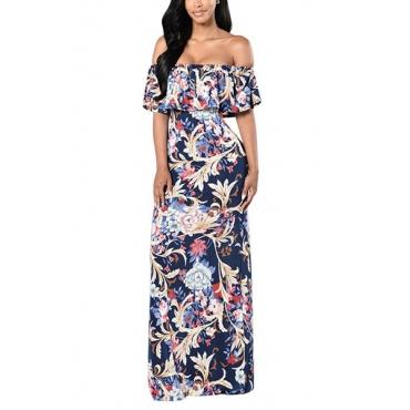 Cotton Fashion Bateau Neck Short Sleeve Ankle Length Dresses