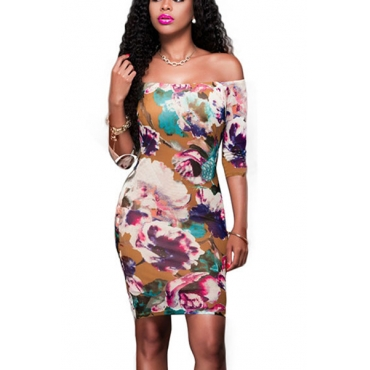 Polyester Sexy Bateau Neck Half Sleeve Sheath Knee Length Dresses