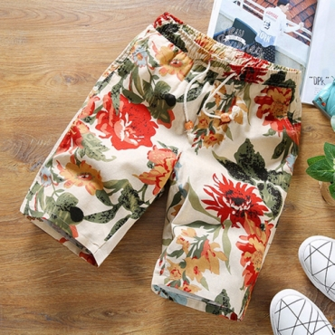 Lovely Casual Floral Printed Beige Cotton Shorts