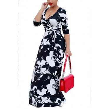 Polyester Fashion V Neck Three Quarter Ankle Length Dresses