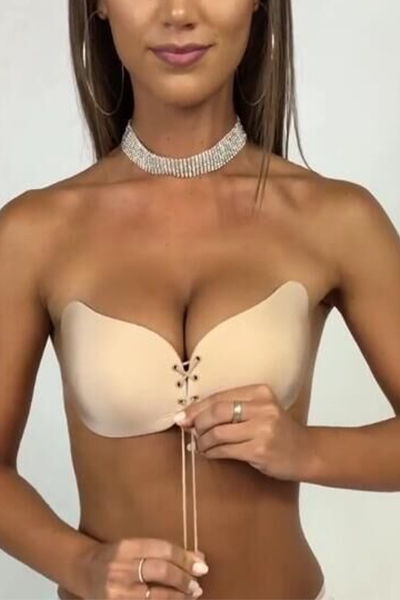 Sexy Lace-up Skin Color Spandex Bra