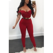 Sexy V Neck Short Sleeves Red Qmilch One-piece Skinny Jumpsuits(Without Belt)