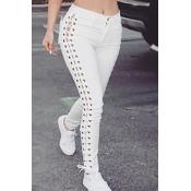 denim Solid Drawstring Mid Regular Pants Pants