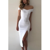 Polyester Sexy Bateau Neck Off The Shoulder Mid Ca