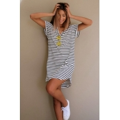 Pullovers Cotton V Neck Short Sleeve Striped Blous