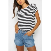 Pullovers Cotton O Neck Short Sleeve Striped Blous