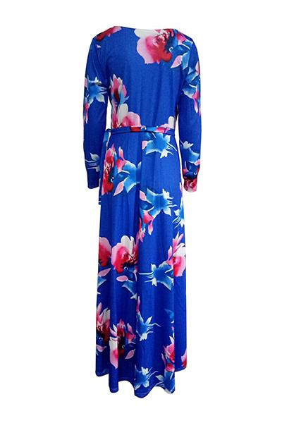 Мода V Шея Три четверти рукава цветочные печати пурпурно-голубой здоровой ткани длиной до пола платье