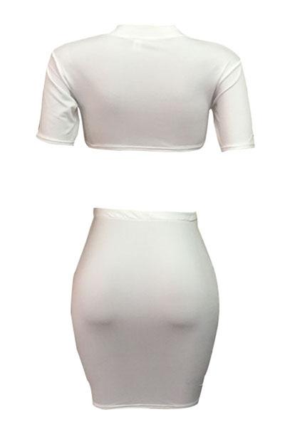 Blanco poliéster falda Imprimir O cuello corto manga sexy dos piezas