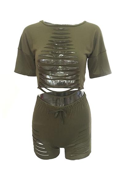 Green Cotton Blend Shorts Solid O Nacken Kurzarm Sexy Zwei Stücke