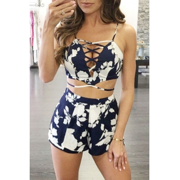 Blue Blending Shorts Print Square Sleeveless Sexy Two Pieces