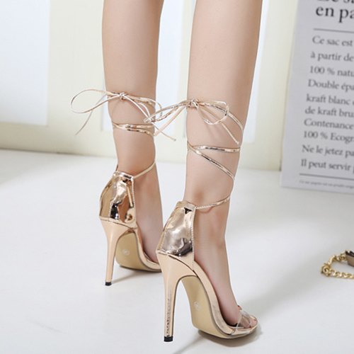 Elegante punta Peep Toe Lace-up Stiletto Super Tacón Alto Champagne PU Correas Sandalias