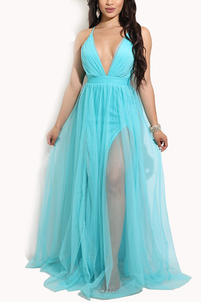Charming V Neck Sleeveless Yarn Splicing Light Blue Polyester A Line Floor length Dress