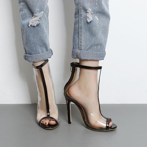 Elegante punta Peep Toe ver-A través de Stiletto Super High Heel Negro PU Sandalias