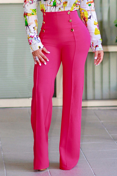 Lovely Stylish High Waist Double-breasted Design Rose Red Polyester Pants