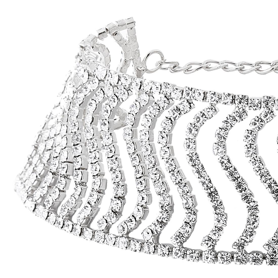 Fashion Rhinestone Decoration Silver Crystal Necklace