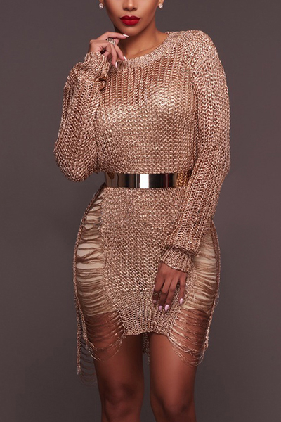 Sexy Round Neck Long Sleeves Hollow-out Rose Gold Polyester Mini Dress(Without Belt) Dresses <br><br>