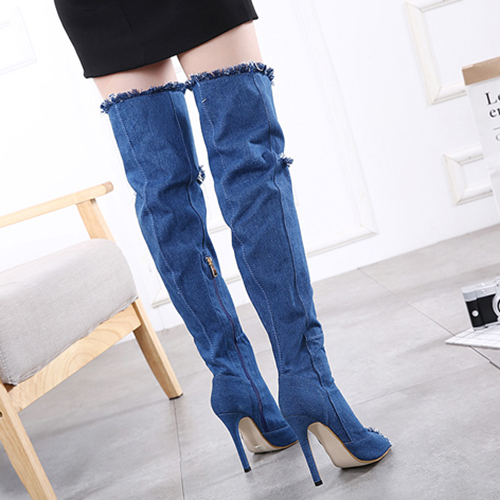 Oco de pé redondo redondo elegante-Stiletto Super High Heel Blue Denim Fabric Over The Knee Boots