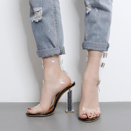 Euramerican круглый Peep Toe выдалбливают коренастый супер высокий каблук черные пластиковые сандалии