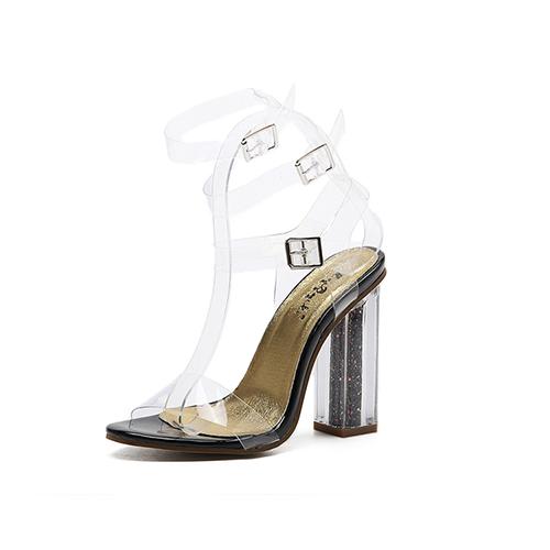Euramerican Round Peep Toe Hollow-out Chunky Super High Heel Black Plastic Sandals