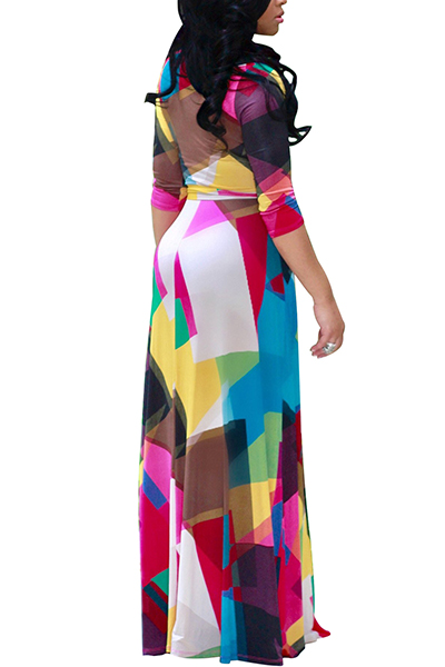 Euramerican V Neck Three Quarter Sleeves Digital Printing Healthy Fabric Floor Length Dress