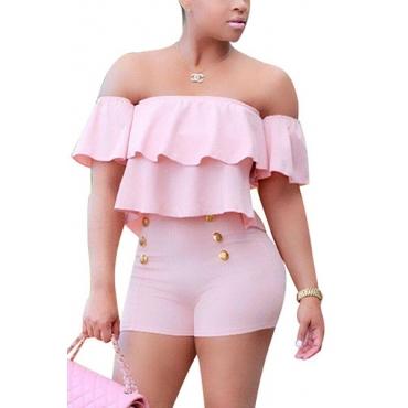 Очаровательная лодка шеи короткими рукавами Falbala Дизайн Розовый Здоровый Ткань Один-кусок тощий комбинезоны