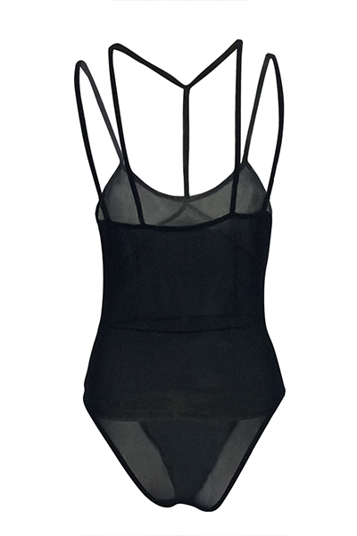 Sexy See-Through Preto Gaze One-piece Skinny Jumpsuits