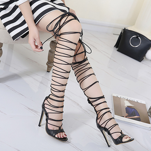 Stylish Point Toe Lace-up Oco-out Stiletto Super High Heel Preto PU Gladiator Sandals