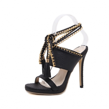 Trendy Point Peep Toe Chain Decorative Stiletto Super High Heel Black PU Ankle Strap Sandals