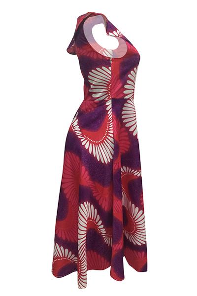 Этнический стиль Бато шеи одно плечо с короткими рукавами Тотем печатных полиэстер лодыжки платье