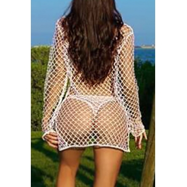 Sexy Hollow-out White Polyester Cover-Ups (sem forro)