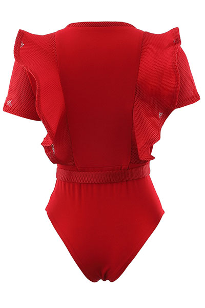 Sexy Round Neck Short Sleeves See-Through Red Polyester One-piece Skinny Jumpsuits