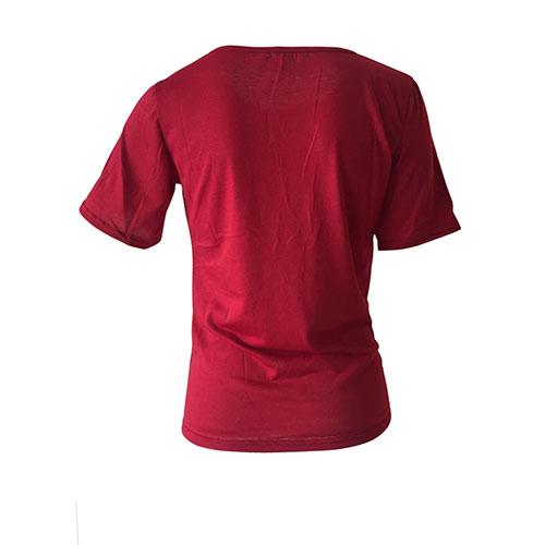 Lazer Ronda Pescoço Malhas curtas Letras Vinho impresso T-shirt vermelho de poliéster
