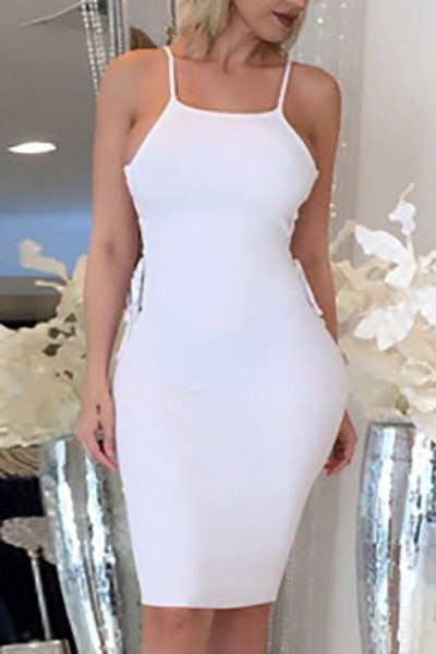 Sexy Spaghetti Strap Hollow-out White Fiber Sheath Knee Length Dress