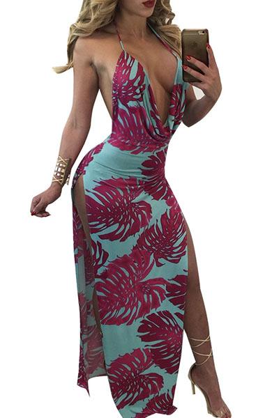 Sexy V Pescoço sem mangas Backless roxo-azul leite fibra bainha vestido de comprimento do tornozelo