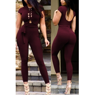 Stylish Round Neck Short Sleeves Hollow-out Wine Red Twilled One-piece Skinny Jumpsuits
