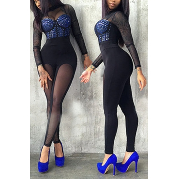 Sexy Round Neck Long Sleeves Yarn Splicing Black Healthy Fabric One-piece Skinny Jumpsuits(With Lining)