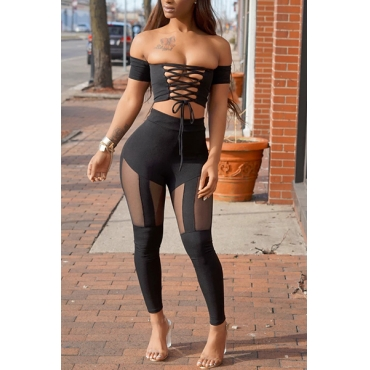 Sexy Dew Shoulder Hollow-out Black Polyester Two-piece Pants Set