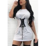 Cotton Blend Casual O neck Short Sleeve Mini Dress