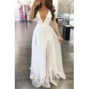 Charming V Neck Sleeveless Yarn Splicing White Polyester A Line Floor Length Dress
