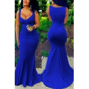 Lovely Sexy U-shaped Neck Sleeveless Blue Cotton Blend Sheath Floor Length Dress