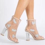 Fashion Pointed Peep Toe See-Through Chunky Super