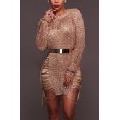 Sexy rodada pescoço mangas compridas oca-out rosa poliéster mini vestido de ouro (sem cinto)