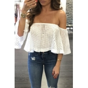 Charming Bateau Neck Half Sleeves Hollow-out White