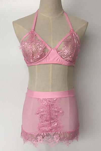 Sexy Euramerican correa de espagueti sin mangas de diamantes de imitación de encaje rosa rosado dos-piece Falda de la falda del cordón de SetPink sólido dos pedazos