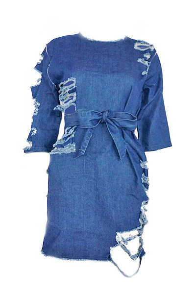 Leisure Round Neck Half Sleeves Blue Denim Mini Dress(With Belt)