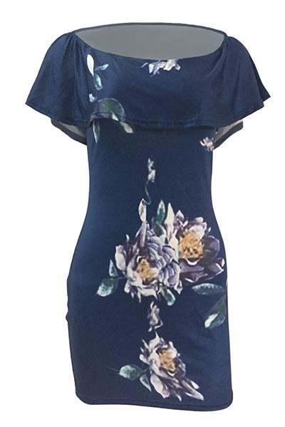 Sexy Bateau cuello corto mangas de impresión floral azul Qmilch vaina mini vestido