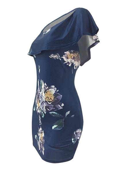 Сексуальная Бато Шеи Короткими Рукавами Цветочный Принт Синий Qmilch Оболочка Мини-платье